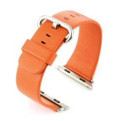 Orange Leather Compatible Apple Watch Strap