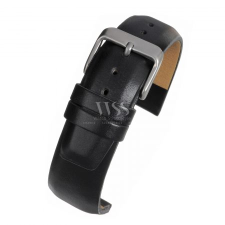 Black Square Padded Leather Watch Strap