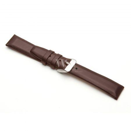 Brown Square Padded Leather Watch Strap