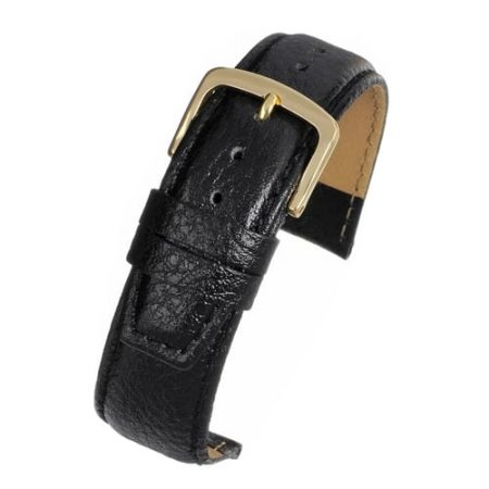 Black Vegetable Padded Leather Watch Strap