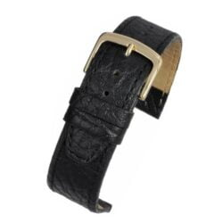 Black Vegetable Leather Watch Strap