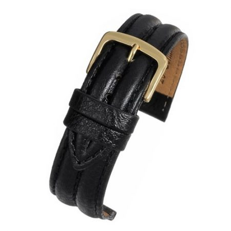 Black Ribbed Vegetable Leather Watch Strap