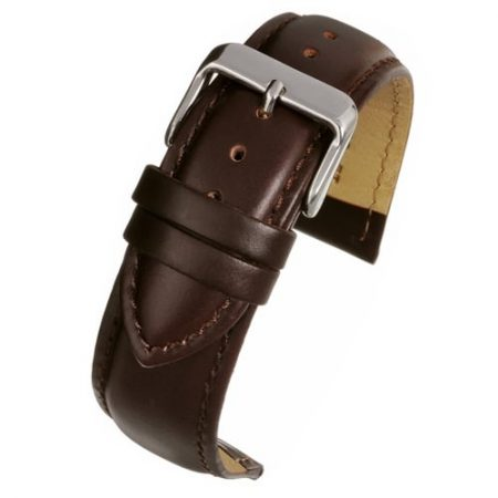 Brown Padded Calf Leather Watch Strap