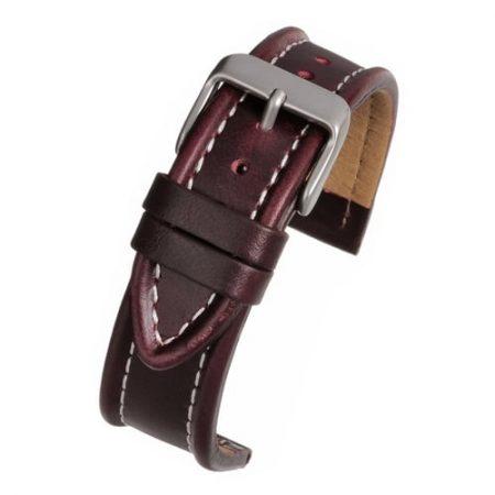 Burgundy White Stitch Leather Watch Strap