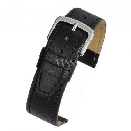 Black Glazed Calf Leather Watch Strap