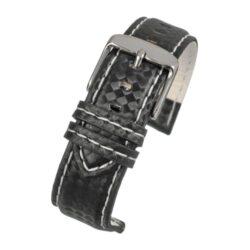 Anthracite Carbon White Stitch Black Watch Strap