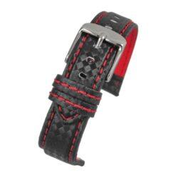 Anthracite Carbon Red Stitch Black Watch Strap