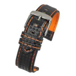 Anthracite Carbon Orange Stitch Black Watch Strap