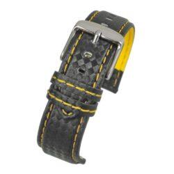 Anthracite Carbon Yellow Stitch Black Watch Strap