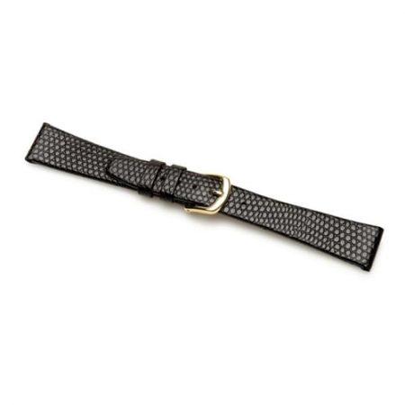 Black Lizard Grain Extra Long Leather Watch Strap