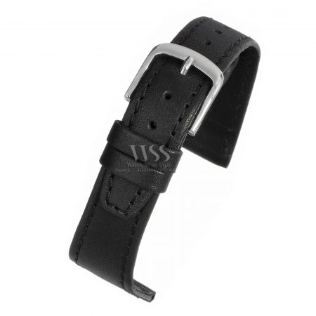 Black Leather Water Resistant Watch Strap