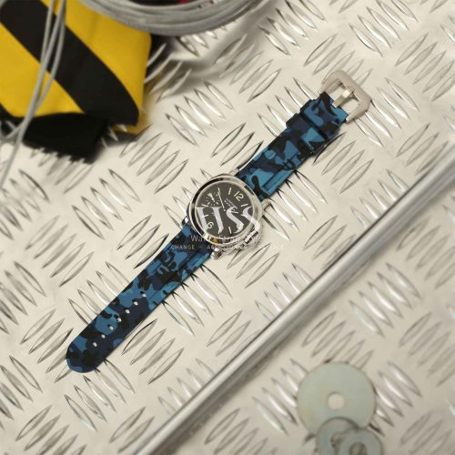 Submerge Camo Silicone Blue Watch Strap