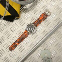 Submerge Camo Silicone Orange Watch Strap