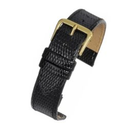 Black Lizard Grain Gloss Value Leather Watch Strap