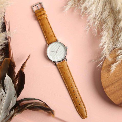 Sandbanks Ostrich Grain Tan Calf Leather Watch Strap
