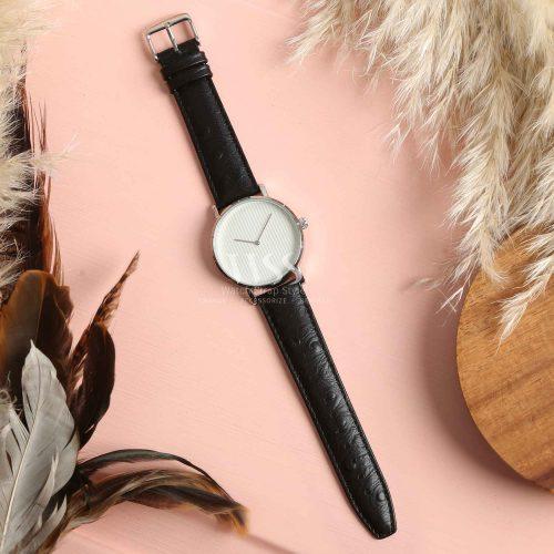 Sandbanks Ostrich Grain Black Calf Leather Watch Strap