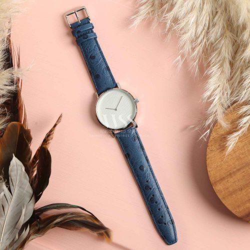 Sandbanks Ostrich Grain Blue Calf Leather Watch Strap