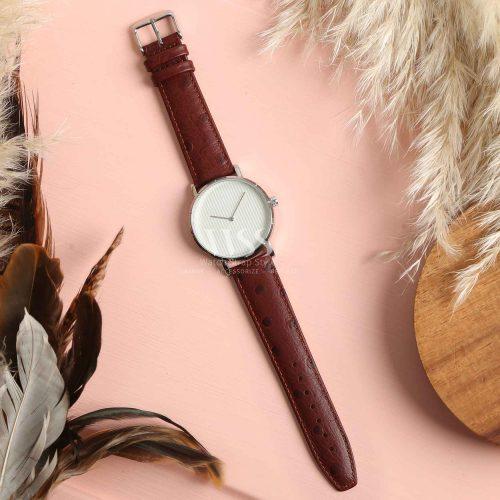 Sandbanks Ostrich Grain Brown Calf Leather Watch Strap