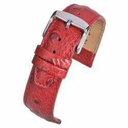 Sandbanks Ostrich Grain Red Calf Leather Watch Strap