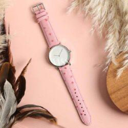 Sandbanks Ostrich Grain Pink Calf Leather Watch Strap