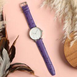 Sandbanks Ostrich Grain Purple Calf Leather Watch Strap