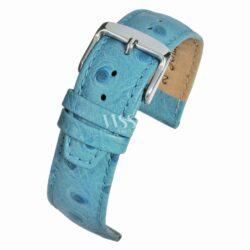 Sandbanks Ostrich Grain Light Blue Calf Leather Watch Strap