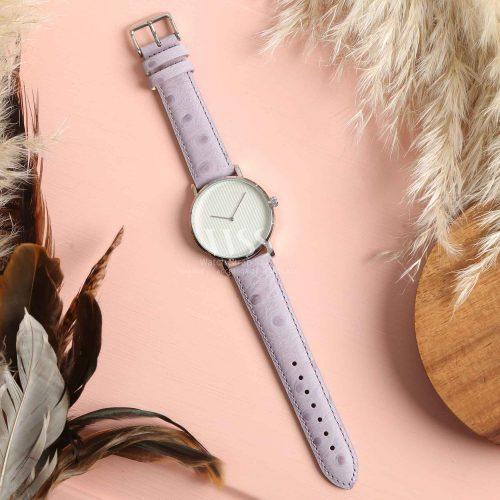 Sandbanks Ostrich Grain Lilac Calf Leather Watch Strap