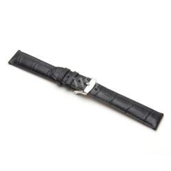 Henley Superior Matt Black Crocodile Grain Watch Strap