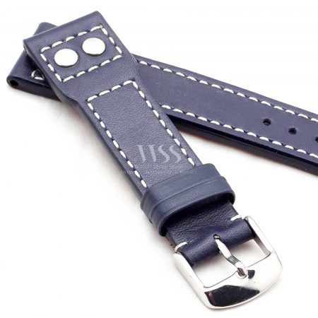 Dark Blue Calf Leather White Stitched Aviation Straps To Fit IWC Pilot Watches