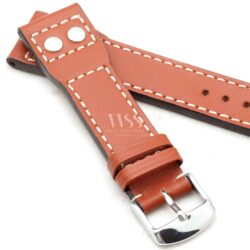 Brown Calf Leather White Stitched Aviation Straps To Fit IWC Pilot Watches