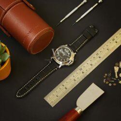 Black Alligator Grain White Stitched Leather Watch Strap To Fit Panerai