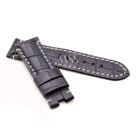 Black Alligator Grain White Stitched Leather Watch Strap To Fit Panerai