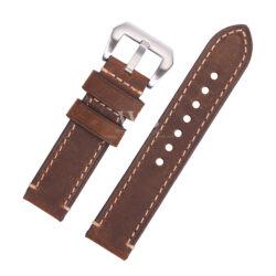 Dark Brown Stitched Leather Watch Strap To Fit Panerai