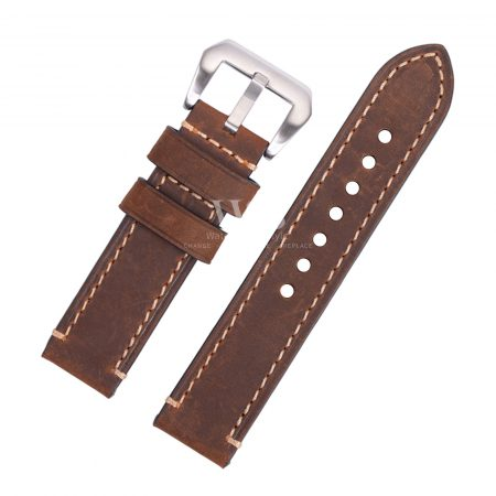 Dark Brown Stitched Leather Watch Strap To Fit Panerai