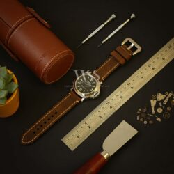 Dark Brown Stitched Leather Watch Strap To Fit Panerai Watches