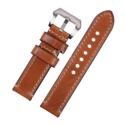 Brown Alligator Grain Stitched Leather Watch Strap To Fit Panerai