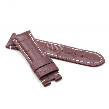 Brown Alligator Grain White Stitched Leather Watch Strap To Fit Panerai