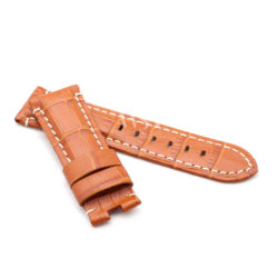 Tan Alligator Grain White Stitched Leather Watch Strap To Fit Panerai