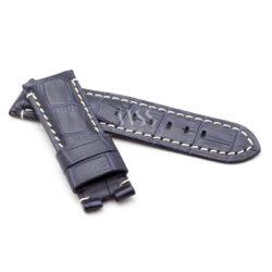 Dark Blue Alligator Grain White Stitched Leather Watch Strap To Fit Panerai
