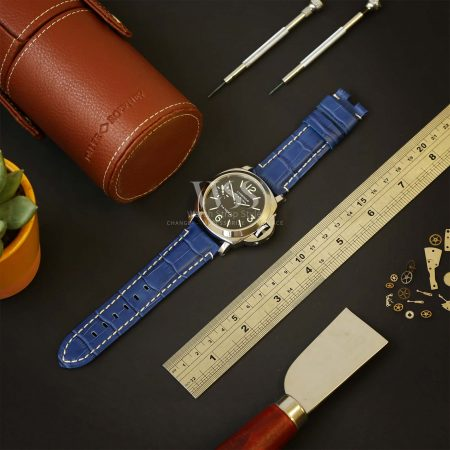 Light Blue Alligator Grain White Stitched Leather Watch Strap To Fit Panerai