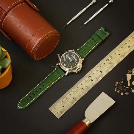 Green Alligator Grain White Stitched Leather Watch Strap To Fit Panerai