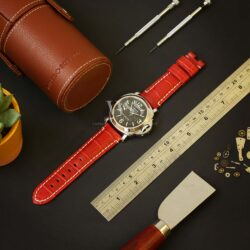 Red Alligator Grain Leather Watch Strap To Fit Panerai