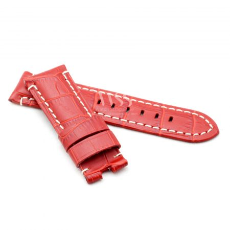 Red Alligator Grain White Stitched Leather Watch Strap To Fit Panerai