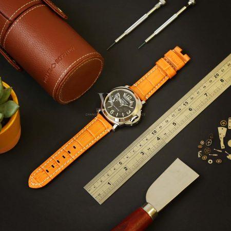 Orange Alligator Grain White Stitched Leather Watch Strap To Fit Panerai