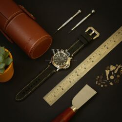 Black Stitched Leather Watch Strap To Fit Panerai Watches