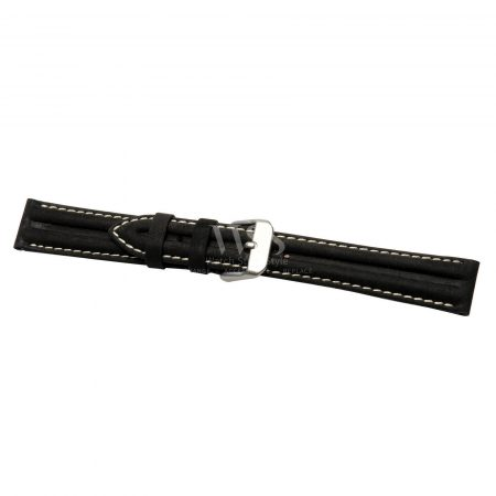 Submerge Water Resistance Black With White Stitch Watch Strap