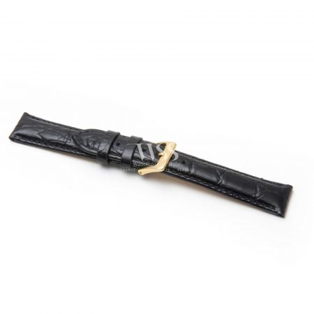Croc Grain Padded Extra Long Black Leather Strap