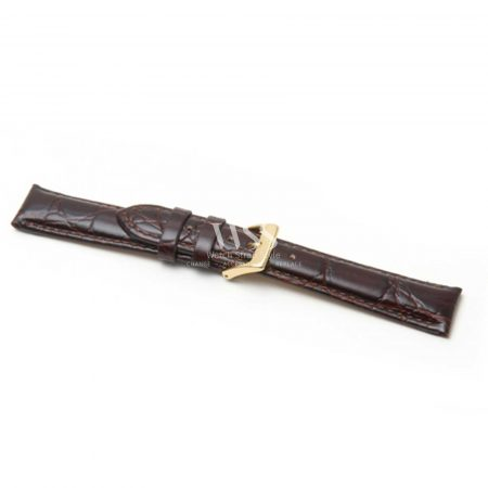 Croc Grain Padded Extra Long Brown Leather Strap