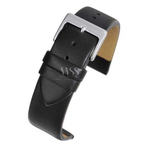 Windsor Smooth Black Leather Watch Strap