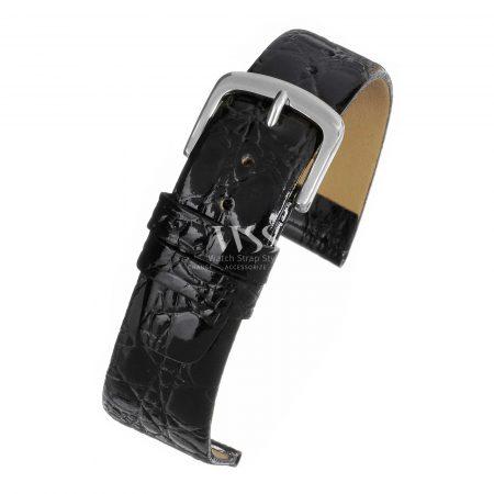 Black Crocodile Grain Leather Watch Strap